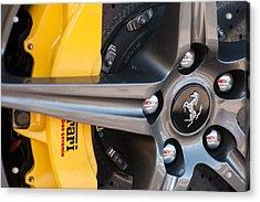 Ferrari Wheel - Brake Emblem Acrylic Print by Jill Reger