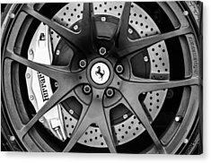 Ferrari Wheel Emblem - Brake Emblem -0430bw Acrylic Print by Jill Reger