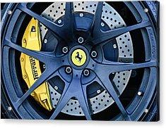 Ferrari Wheel Emblem - Brake Emblem -0430c Acrylic Print by Jill Reger