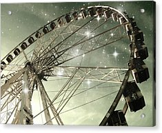 Ferris Wheel At Night In Paris Acrylic Print by Marianna Mills