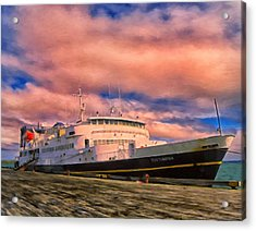Ferry Dockside At Cold Bay Acrylic Print by Michael Pickett