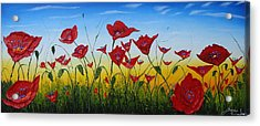 Field Of Red Poppies 4 Acrylic Print by Portland Art Creations