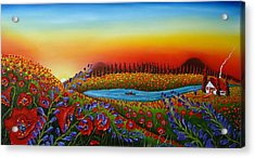 Field Of Red Poppies At Dusk 2 Acrylic Print by Portland Art Creations