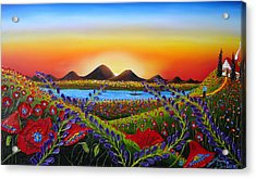 Field Of Red Poppies At Dusk 3 Acrylic Print by Portland Art Creations