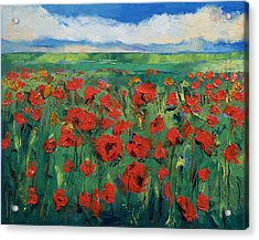 Field Of Red Poppies Acrylic Print by Michael Creese