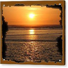 Fiery Cannon Beach Sunset Acrylic Print by Will Borden