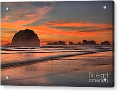 Fiery Ripples In The Surf Acrylic Print by Adam Jewell