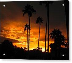 Fiery Sunset Acrylic Print by Deb Halloran