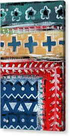 Fiesta 3- Colorful Pattern Painting Acrylic Print by Linda Woods