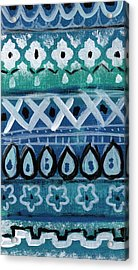 Fiesta In Blue- Colorful Pattern Painting Acrylic Print by Linda Woods