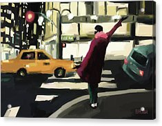 Fifth Avenue Taxi New York City Acrylic Print by Beverly Brown Prints