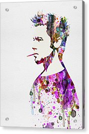 Fight Club Watercolor Acrylic Print by Naxart Studio