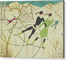 Figure Skating  Christmas Card Acrylic Print by American School