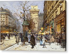Figures On Le Boulevard St. Denis At Twilight Acrylic Print by Eugene Galien-Laloue