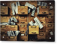 Filing System Acrylic Print by Caitlyn  Grasso