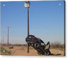 Film Noir Walter Hill Bruce Dern Ryan O'neal The Driver 1978 Car  Telephone Wire Arizona City Az Acrylic Print by David Lee Guss