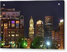 Financial District At Night - Boston Acrylic Print by Joann Vitali