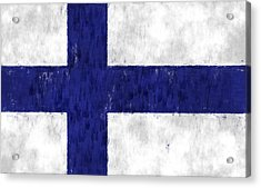 Finland Flag Acrylic Print by World Art Prints And Designs
