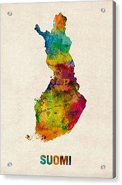 Finland Watercolor Map Suomi Acrylic Print by Michael Tompsett
