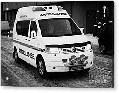 Finnmark Health Service Ambulance Honningsvag Norway Europe Acrylic Print by Joe Fox