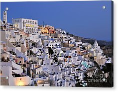 Fira Town During Dusk Time Acrylic Print by George Atsametakis