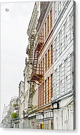 Fire Escapes New Orleans Acrylic Print by Christine Till