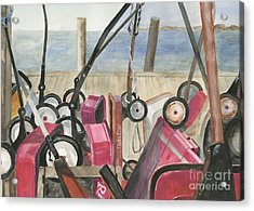Fire Island Wagon Parking Acrylic Print by Sheryl Heatherly Hawkins