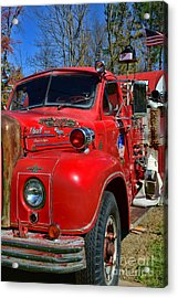 Fireman - A Very Old Fire Truck Acrylic Print by Paul Ward