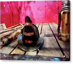 Fireman - Fire Helmet In Fire Truck Acrylic Print by Susan Savad