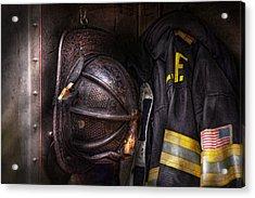 Fireman - Worn And Used Acrylic Print by Mike Savad