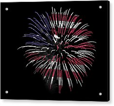 Firework Over Flag Acrylic Print by Robert Graybeal