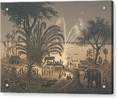 Fireworks On The River At Celebrations Acrylic Print by Louis Delaporte