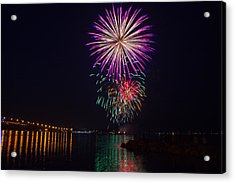 Fireworks Over The York River Acrylic Print by James Drake