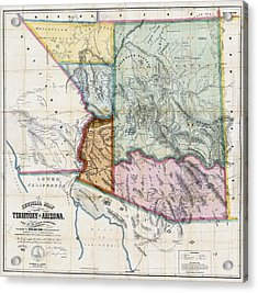 First Map Of Arizona Territory  1865 Acrylic Print by Daniel Hagerman