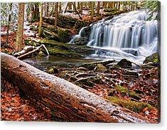 First Snow Tucker Brook Falls Acrylic Print by Jeff Sinon