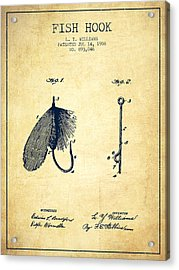 Fish Hook Patent From 1908- Vintage Acrylic Print by Aged Pixel