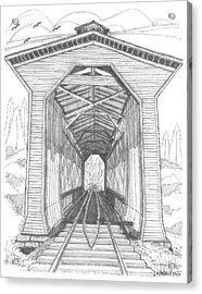 Fisher Railroad Covered Bridge Acrylic Print by Richard Wambach