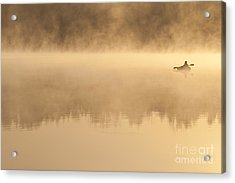 Fisherman In Kayak, Lake Cassidy Acrylic Print by Jim Corwin