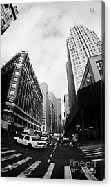 Fisheye Shot Of Yellow Cab On Intersection Of Broadway And 35th Street At Herald Square New York Acrylic Print by Joe Fox