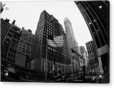 Fisheye View Of 34th Street From 1 Penn Plaza New York City Acrylic Print by Joe Fox