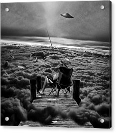 Fishing Above The Clouds Grayscale Acrylic Print by Marian Voicu