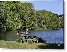 Fishing At Ponce De Leon Springs Fl Acrylic Print by Christine Till