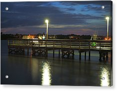Fishing At Soundside Park In Surf City Acrylic Print by Mike McGlothlen