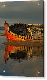 Fishing Boat At Crow Point - North Devon Acrylic Print by Pete Hemington
