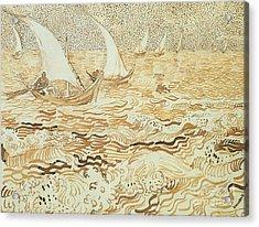 Fishing Boats At Saintes Maries De La Mer Acrylic Print by Vincent van Gogh
