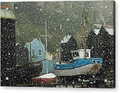 Fishing Boats Covered With Snow In Old Acrylic Print by Chris Parker