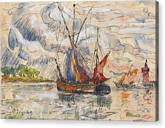 Fishing Boats In La Rochelle Acrylic Print by Paul Signac