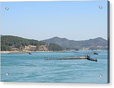 Fishing By Flow Of Sea Wat Acrylic Print by Sihyeon Park