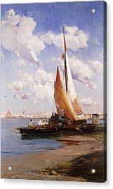 Fishing Craft With The Rivere Degli Schiavoni Venice Acrylic Print by E Aubrey Hunt