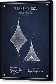 Fishing Net Patent From 1889- Navy Blue Acrylic Print by Aged Pixel